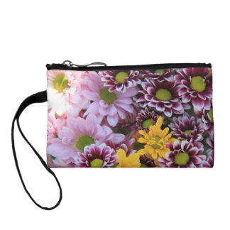 Floral Clutch, covered with multicolored boquets Coin Purse