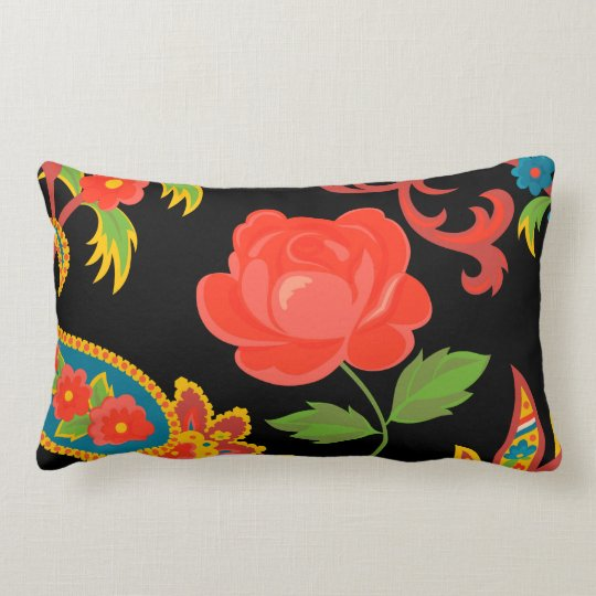 Floral Collage Lumbar Pillow