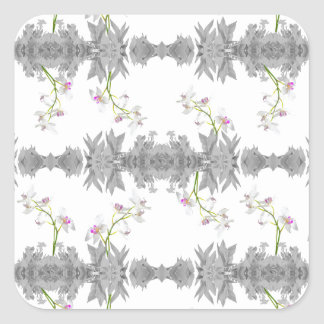 Floral Collage Pattern Square Sticker