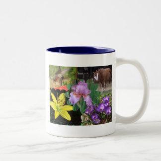 Floral Collage Two-Tone Coffee Mug