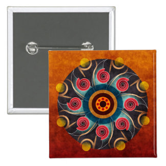 Floral Color Abstract Vector Art Button (square)