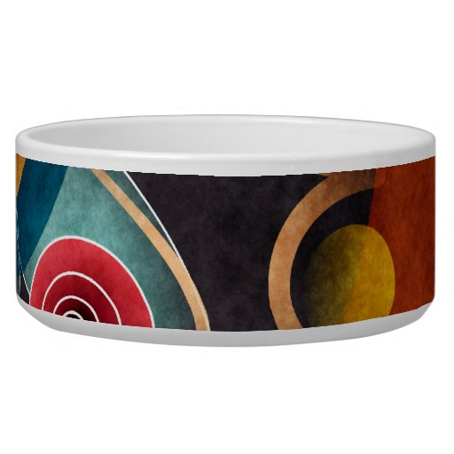 Floral Color Abstract Vector Art Dog Bowl