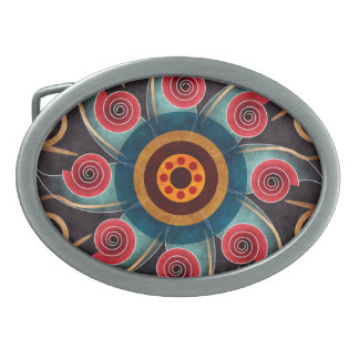 Floral Color Abstract Vector Art Oval Belt Buckle