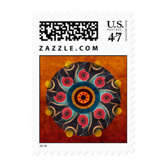 Floral Color Abstract Vector Art Postage Stamp