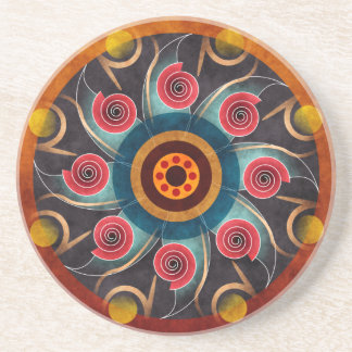 Floral Color Abstract Vector Art Sandstone Coaster
