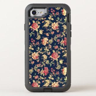 Floral color de rosa azul del vintage elegante funda OtterBox defender para iPhone 7