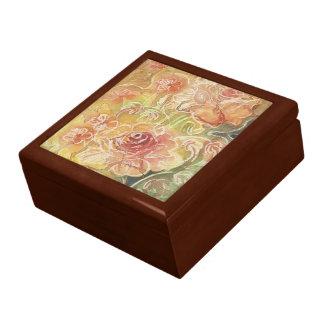 Floral color de rosa delicado caja de regalo