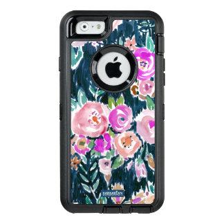 Floral color de rosa oscuro de la profusión de funda otterbox para iPhone 6/6s
