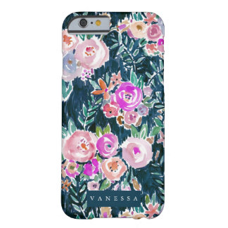 Floral color de rosa oscuro de la profusión de funda para iPhone 6 barely there