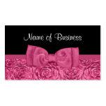 Floral color de rosa rosado y negro elegante con tarjetas de visita