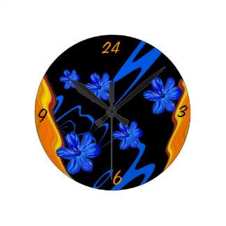 Floral Color Flow Blue Blossom Wall Clock