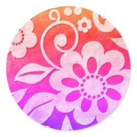Floral Color Splash Round Sticker