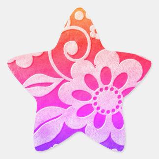 Floral Color Splash Star Stickers