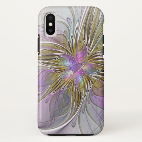 Floral Colorful Abstract Fractal With Pink & Gold Phone Case
