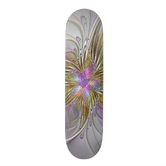 Floral Colorful Abstract Fractal With Pink & Gold Skateboard Deck