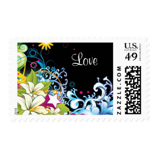 Floral Colorful Abstract Love Matching  Stamp