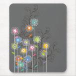 Floral colorido caprichoso del jardín de flores mouse pad