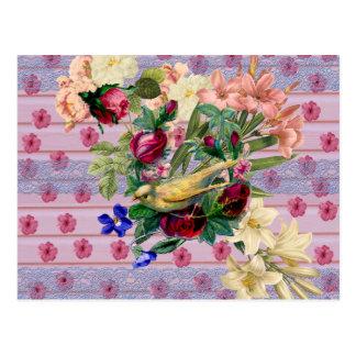Floral colorido del pájaro amarillo de madera rosa tarjetas postales