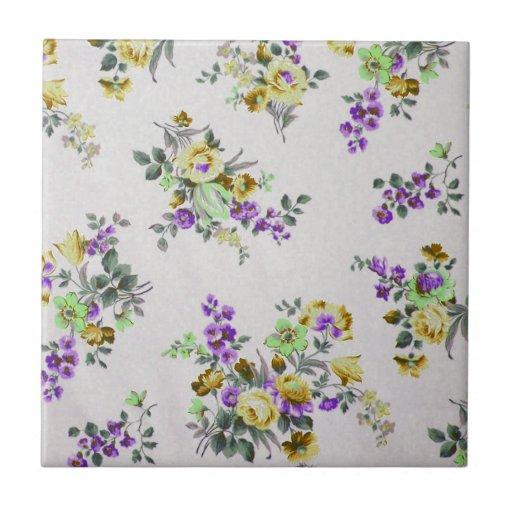 Floral colorido del vintage azulejo cuadrado pequeño