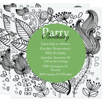 Floral Coloring Doodle Art Party Invitation