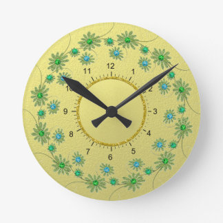 Floral composition round clock