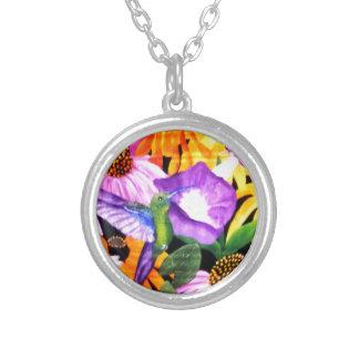 Floral con el colibrí colgante redondo