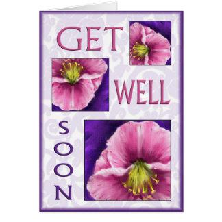 Floral consiga los deseos del pozo pronto tarjeta de felicitación