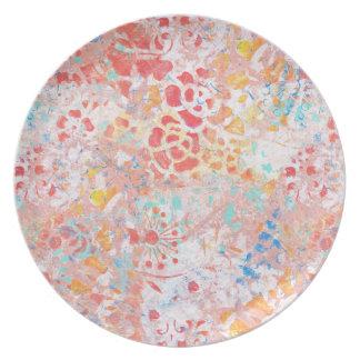 Floral contemporáneo abstracto azul amarillo rojo platos