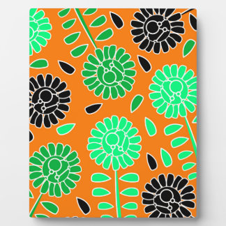 floral contrast orange plaque