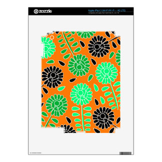floral contrast orange skins for iPad 3