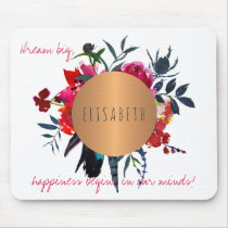 Floral copper circle inspiring words and your name mouse pad