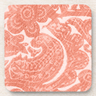 Floral Coral - A Bright, Swirling Pattern Beverage Coaster