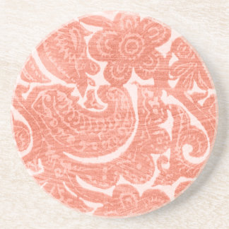 Floral Coral - A Bright, Swirling Pattern Coaster