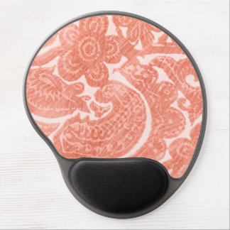 Floral Coral - A Bright, Swirling Pattern Gel Mouse Pad