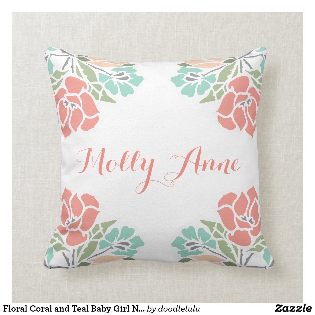 Floral Coral and Teal Baby Girl Nursery Throw Pillow