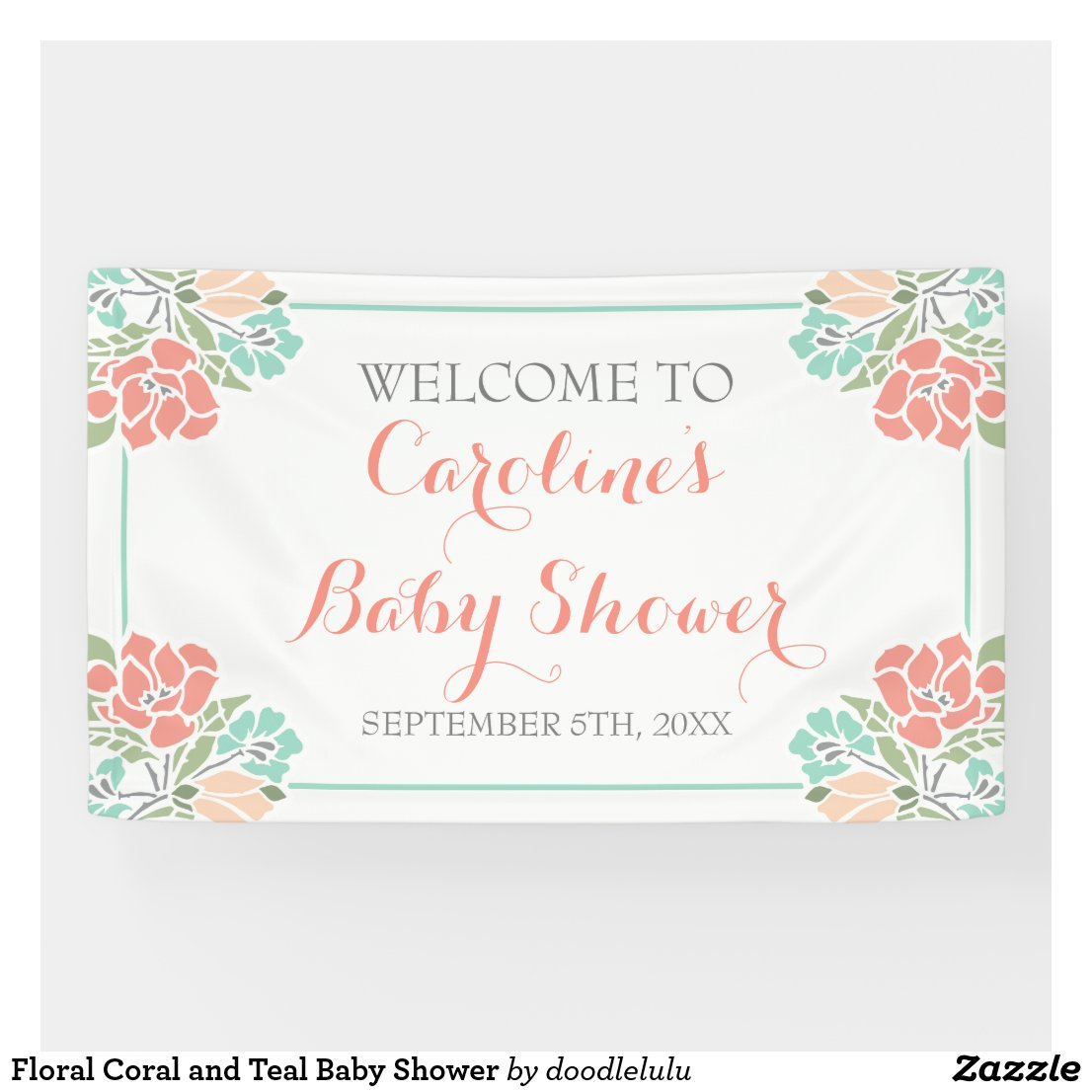 Floral Coral and Teal Baby Shower Banner