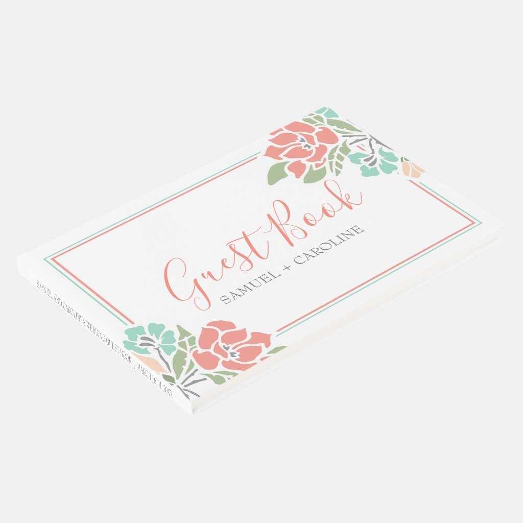 Floral Coral and Teal Wedding Guest Book