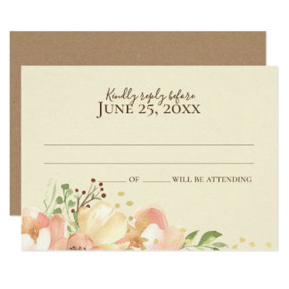Floral Coral Peach and Apricot Wedding Response Invitation