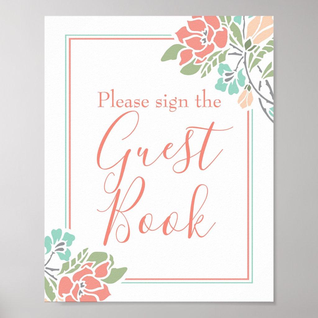 Floral Coral Teal Bridal Shower Guest Book Sign