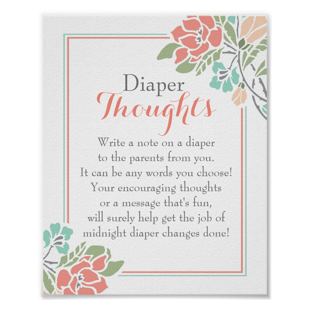 Floral Coral Teal Diaper Thoughts Poster