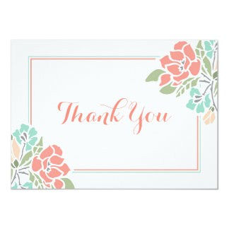 Floral Coral Teal Thank You Card