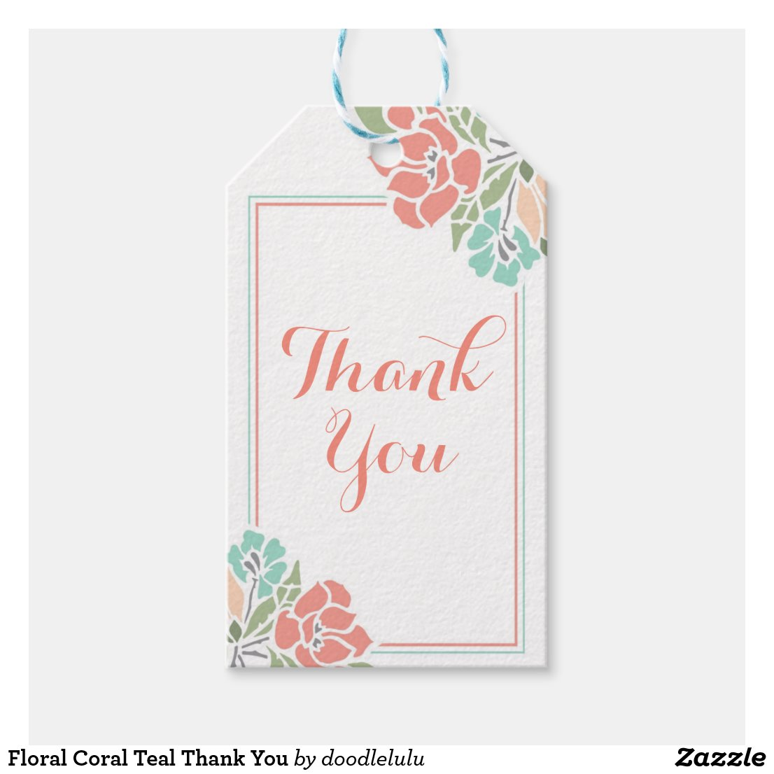 Floral Coral Teal Thank You Gift Tags