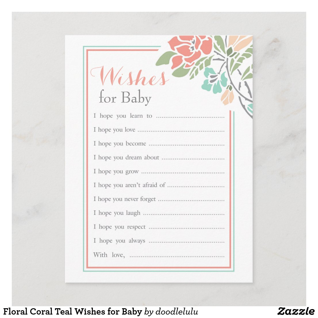 Floral Coral Teal Wishes for Baby Advice Card