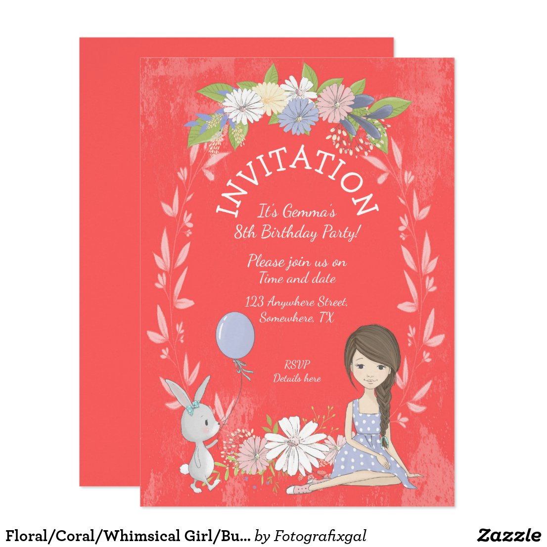 Floral/Coral/Whimsical Girl/Bunny/Birthday Party Invitation