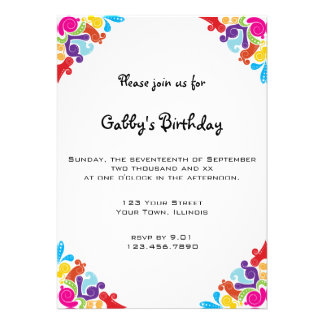 Floral Corners Birthday Party Invitation