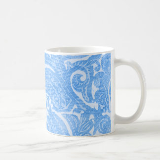 Floral Cornflower Blue - Bright, Swirling Pattern Classic White Coffee Mug