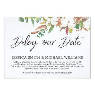 Floral Corona Virus Wedding Delay the Date Card
