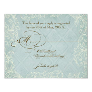 Floral Cottage by the Sea Shells Beachy Wedding 4.25x5.5 Paper Invitation Card