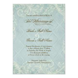 Floral Cottage by the Sea Shells Beachy Wedding 6.5x8.75 Paper Invitation Card