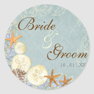 Floral Cottage by the Sea Shells Beachy Wedding Classic Round Sticker